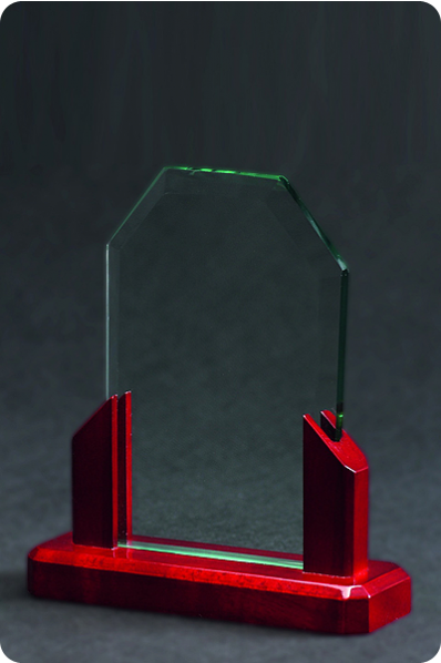 Placa de Cristal con Elementos de Madera
