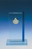 Placa de Cristal Azul con Reloj